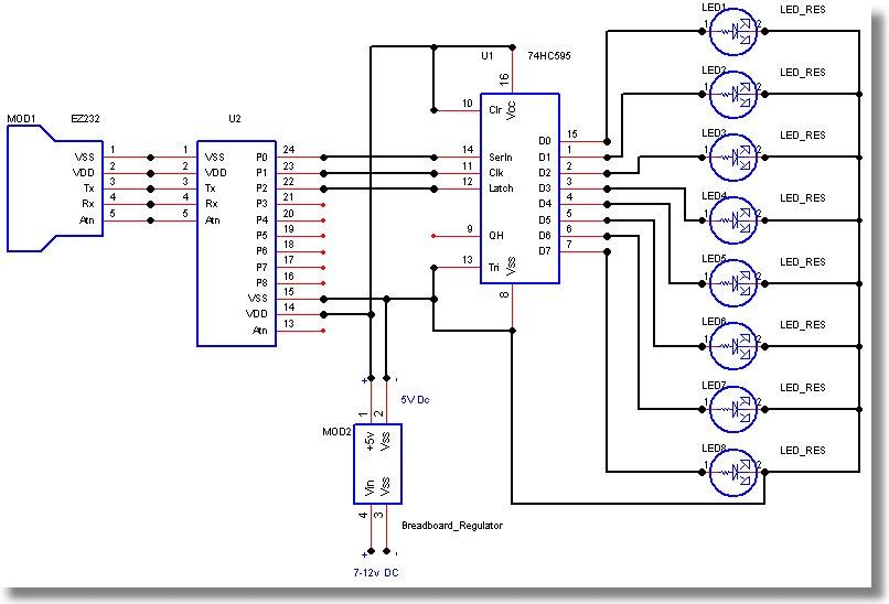 74hc595驱动8个led的应用电路图